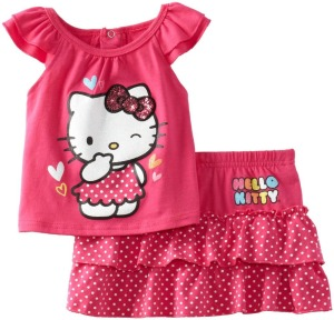 New-Kids-Clothes-Cotton-Hello-Kitty-Clothing-girl-Short-Sleeve-T-Shirt-Short-Skirt-Clothes-For